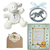 Catholic Baby Baptism Christening Or Baby Shower Gift Set-4 Items Blue (Blue)