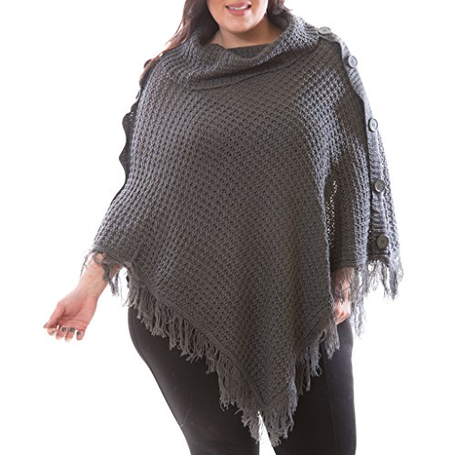 [16180XR-HGY-2X] Women's Plus Size Cowl Neck Poncho V Style Wrap Fringe, Buttons (Plus Size Poncho)
