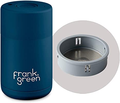 Frank Green Stainless Steel Travel Coffee Mug 10oz With Double Wall Thermal Vacuum Insulation Sailor Blue Kitchen Dining