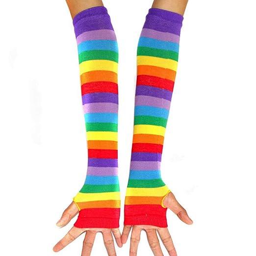 9b54a03dc8b Amazon.com  Womens Rainbow Stripe Knee Thigh High Socks Arm Warmer  Fingerless Gloves (Gloves)  Clothing