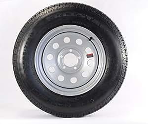 Two Radial Trailer Tires & Rims ST205/75R14 205/75-14 C 5 Lug Gray Grey Modular
