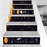 Stair Stickers Wall Stickers,6 PCS Self-adhesive,Outer Space Decor,Detailed Solar System with Scientific Information Jupiter Saturn Universe Telescope Print,Multi,Stair Riser Decal for Living Room, Ha