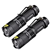 ROCKBIRDS LED Tactical Flashlights (2 Pack) - with Belt Clip, Fluorescent Ring, Zoomable, High Lumen, 3 Modes, Water Resistant- Best Tools for Camping, Outdoor, Emergency