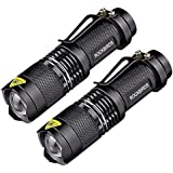 RockBirds LED Tactical Flashlights with Fluorescent Ring(2 Pack) - High Lumen, Zoomable, 3 Modes, Water Resistant, Handheld Light - Best Camping, Outdoor, Emergency, Everyday Mini Flashlights