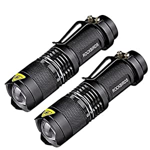 Flashlights,RockBirds LED Flashlight with Fluorescent Ring- High Lumen, Zoomable, 3 Modes, Water Resistant, Handheld Light - Best Camping, Outdoor, Emergency, Mini Flashlights (2 Pack)