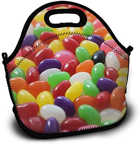 Lots Of Jellybeans Lunch Tote Bag With Detachable Adjustable Shoulder Strap Lightweight And Waterproof Reusable Insulated Thermal Washable Lunch Box With Zipper