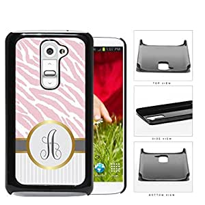 Customized Pink and White Zebra Pattern Animal Print with Gray and White Vertical Stripes on Bottom and Gray Round Monogram in Center Outlined in Gold Hard Plastic Snap On Cell Phone Case LG G2
