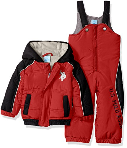 U.S. Polo Assn. Baby Boys' Sporty Heavyweight Bubble Snow Suit, Engine Red, 12 Months
