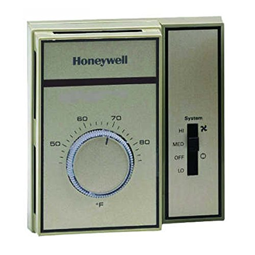 Honeywell T6169A4019 Fan Coil Thermostat, 2 Pipe Heat/Cool, 3 Speed Fan, Range 44-86 Degree F Less Thermometer, Tan Color