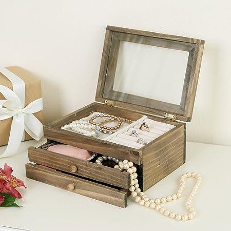 Francés Estilo Vintage Joyero de madera pecho soporte organizador con tapa de cristal 16 x 22 x 11 cm – un regalo perfecto para su: Amazon.es: Hogar