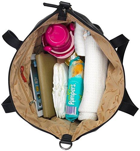 Storksak Noa Leather Shoulder Bag Diaper Bag with Organizer, Black