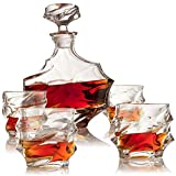 Everest Mountain Whiskey Decanter Set - The Wine Savant - Limited Edition and Luxurious Lead Free Glass, Comes with 1 Decanter (750ML) 4 Glasses