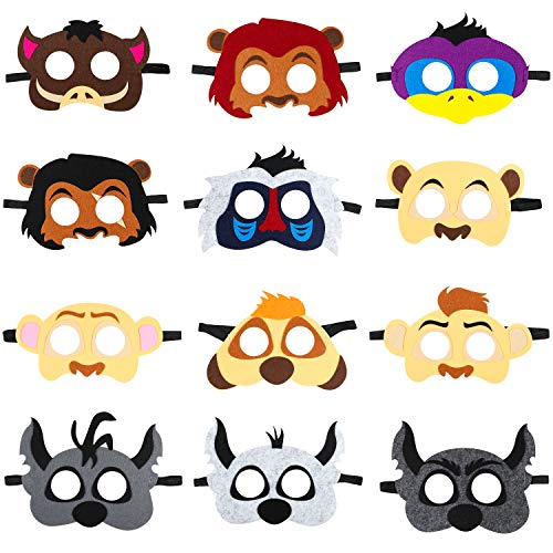 BeYumi 12Pcs Lion King Felt Masks Set for Kids, Safari Jungle Animal Party Favors Supplies, Great Idea for Birthday Costumes Dress-Up | Petting Zoo | Farmhouse | Wild Animal |Jungle Themed Party (Jungle Kids Costume)