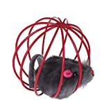 Pet Cat Kitten Funny Playing Toy Teal Fake Mouse in Cage Ball