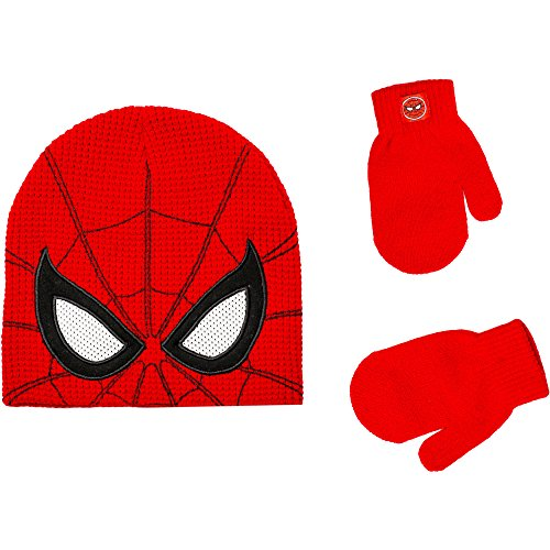 Marvel Spiderman Infant Toddler Boy Knit Beanie Hat and Mittens Set Red