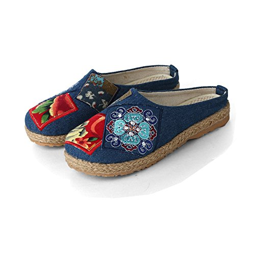 Goober Liu Embroidered Patches Cloth Slippers, Comfortable and Breathable Shoes, ,Beijing Cloth Shoes
