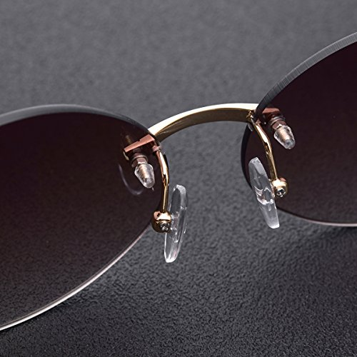 0ae3aa9b72a9 HEPIDEM Handmade Horn Sunglasses Round Rimless Buffalo Horn Luxury Sun  Eyewear Spectacles 0817 (Coffee,Gold). Gray,black