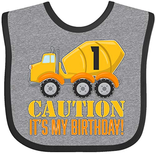Inktastic - 1st birthday construction truck, Baby Bib Heather and Black - Birthday Outfit Construction 1st