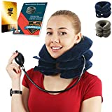 Cervical Neck Traction Device for Men and Women – Inflatable Collar Brace for Neck Decompression and Support – Neck Stretcher for Home Use – Provides Pain Relief and Restores Spinal Curve (B - Blue Collar)