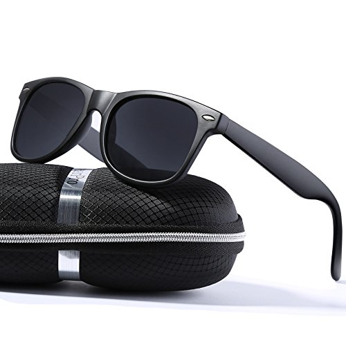 wearPro Wayfarer Sunglasses for Men Women Vintage Polarized Sun Glasses - Sunglasses Black Men