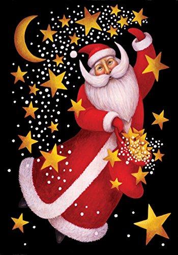 Toland Home Garden Celestial Santa 12.5 x 18 Inch Decorative Christmas Holiday Dancing Gold Star Garden Flag -
