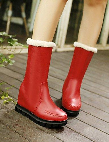 Botas Bajo us7 5 Trabajo De Oficina negro Cn39 Xzz Punta us8 Uk6 Semicuero 5 Eu39 Cn38 Mujer Y Redonda Zapatos Eu38 Cn3 Casual Vestido Red Rojo Tacón Uk5 Red Cerrada qS4wIz84P