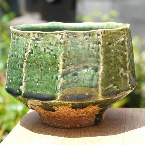Oribe chamfer tea bowl Kino kiln