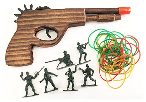 White Fox Toys Wooden Rubber Band Gun Red Bat Enforcer Pistol with Extra Rubber Bands Ammo and Army Men Targets