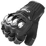Motorcycle Fingerless Gloves,Dirt Bike Motocross Motorbike Power Sports Racing Gloves Steel Reinforced Knuckle (Black,XXL)