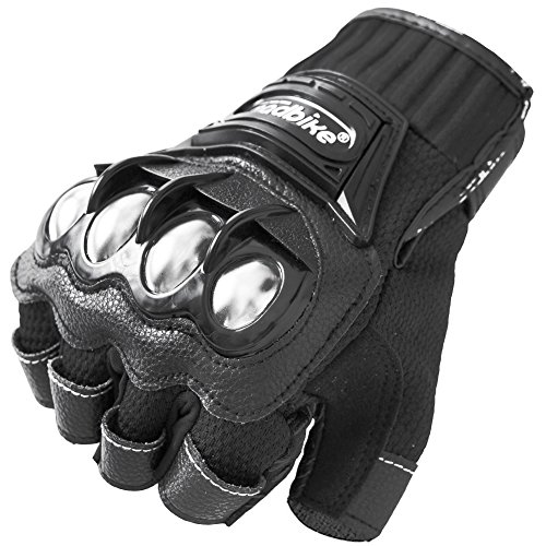 Motorcycle Fingerless Gloves,Dirt Bike Motocross Motorbike Power Sports Racing Gloves Steel Reinforced Knuckle (Black,L)