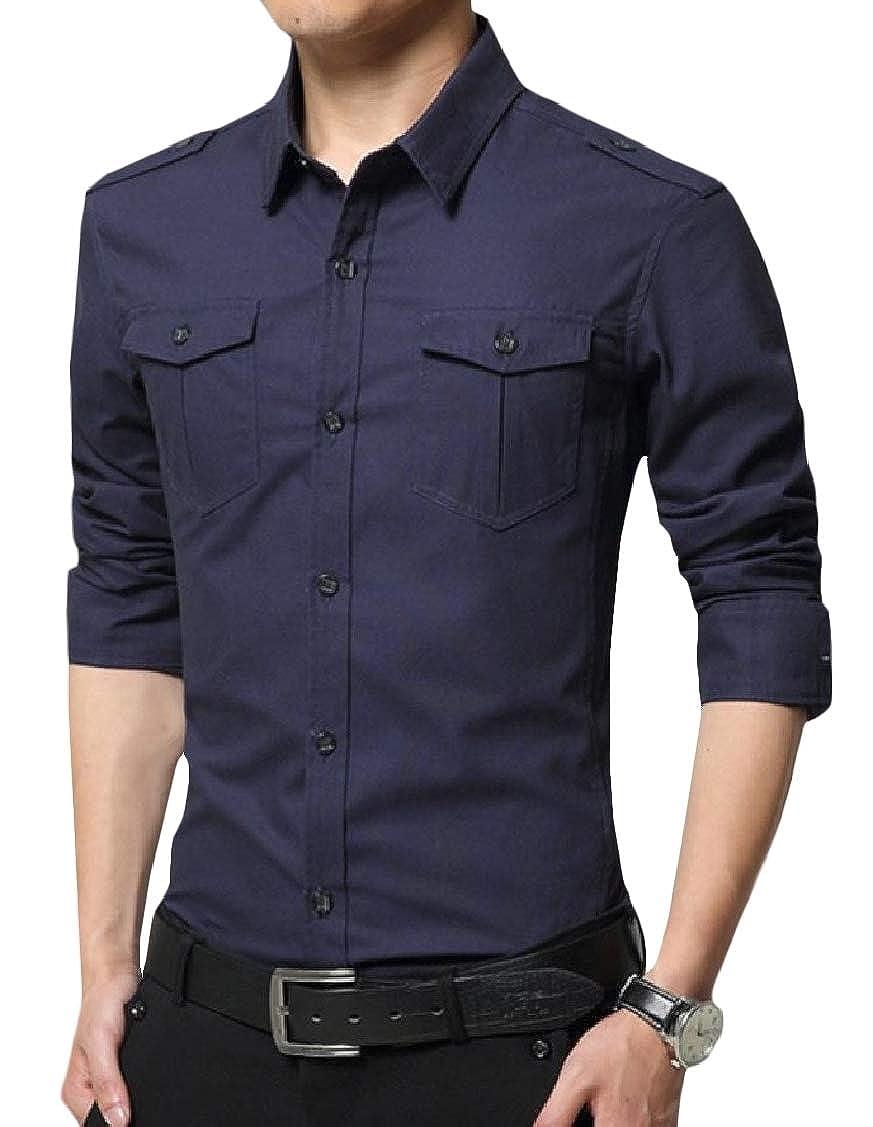 pipigo Mens Cotton Cotton Long Sleeve Button Down Military Slim Shirts