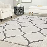 Mod-Arte Platinum Shag Collection, PS04-203810, White and Gray Area Rug, 8 feet by 10 feet (8'x10')