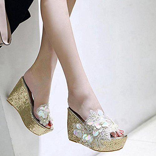 Wedge High Comfy Slides Heels Flowers Platform Women's Gold Summer Slippers GIY Sandals wXxRq5Hta