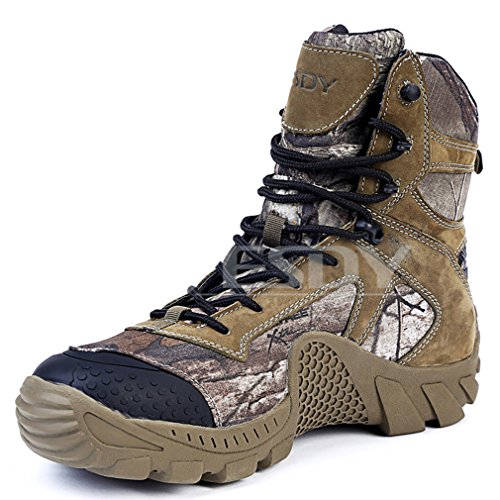 emansmoer Herren High-top Lace-up Camo Militär Tactical Combat Stiefel Wasserdicht Outdoor Wandern Trekking Trail Schuhe (44 EU, Camo)
