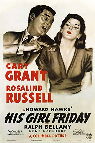 American Gift Services - His Girl Friday Cary Grant Rosalind Russell Vintage Movie Poster - 24x36