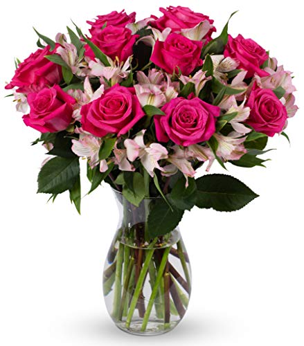 Benchmark Bouquets Charming Roses and Alstroemeria, With Vase (Fresh Cut Flowers) (Alstroemeria Flowers)