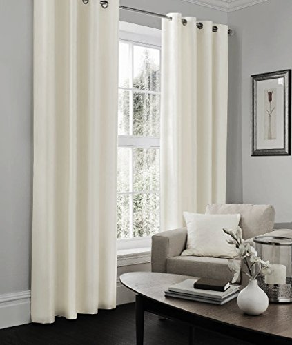 IHF Faux Silk Dupioni Solid Textured Lined Grommet Eyelet Panels Curtains Drapes (Off White, 52