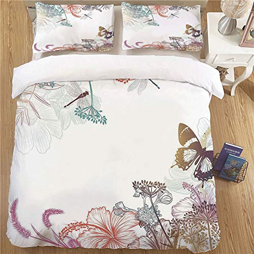 Kids Duvet Cover Set,Full Size,3pc with 2 Pillow Shams Dragonfly Wildflowers Hibiscus Blooms Herbs Fern Artistic Antique Botanical Elegance Design Decorative Multicolor (Premium Hibiscus Antique Womens)