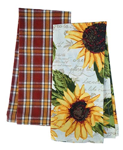 - DII Design Imports Set 2 Rustic Sunflower Kitchen Dish Towels - Rustic Sunflower Print - Rustic Plaid