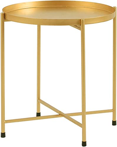 Side Table Tray Metal End Table Round Foldable Accent Coffee Table for Living Room Bedroom 18.1 20.5 ,Gold