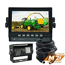 """7"""""""" Digital Dual Twin Double Lens Rear View Backup Reverse Camera System Cab Observation Cam System Kit for Forklift, Oversize Load Truck, Box Truck"""
