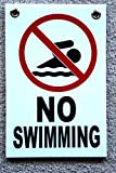 1 Pc Effective Unique No Swimming Symbol Sign Yard Decal Warning Board Beach Declare At Your Own Risk Pool Poster Swim Post Outdoor Peeing Pond Pools Rules Diving Danger Signs Size 8''x12'' w/ Grommets