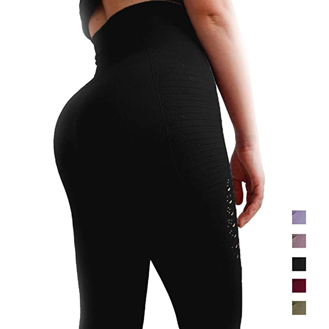 f055d6a039b CROSS1946 Sexy Women s Energy Seamless Crochet Hollow Yoga Pants Skinny  Tummy Control Leggings S Black