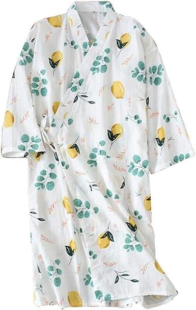 Kimono de Gasa de algodón japonés Camisón Pijama Largo Albornoz Traje de Sauna, F05: Amazon.es: Ropa y accesorios