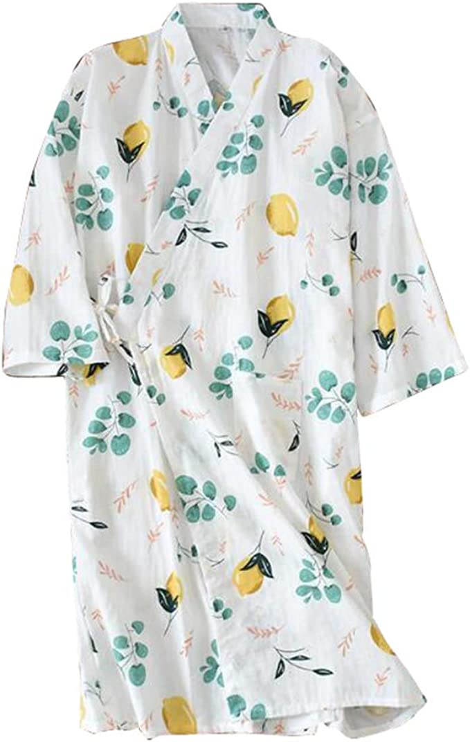 Kimono de Gasa de algodón japonés Camisón Pijama Largo Albornoz ...