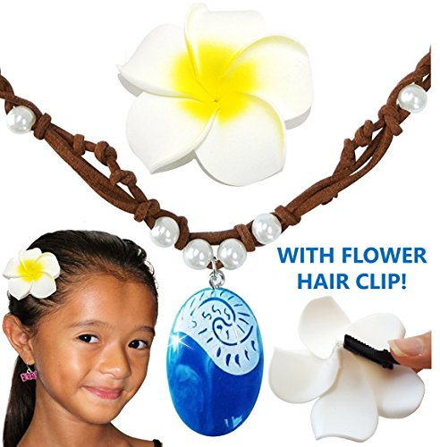 Moana-Necklace Hair Flower Clip and Necklace Set, Disney Costume Accessories Movie Gift For Girls, Heart Of Te Fiti Gorgeous Blue Pendant, Faux Leather, Pearl