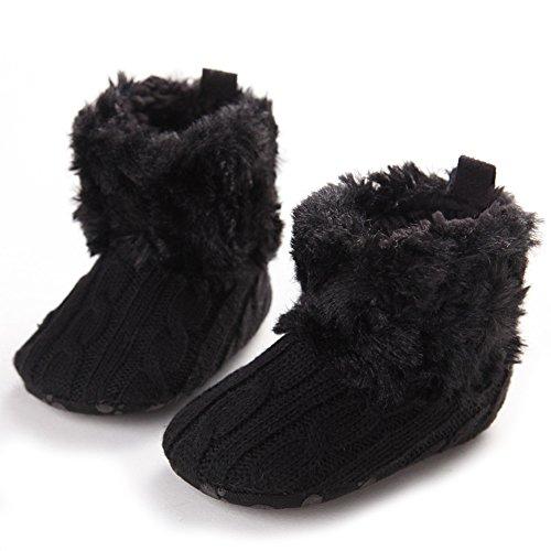 Baby-Schnee-Aufladungen weiche Unterseite Fleece Stiefel Schuhe (S: 0-6 Monate, Braun) Schwarz