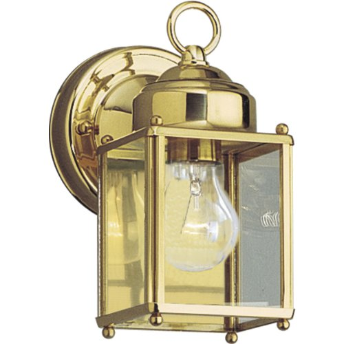 Progress Lighting P5607-10 Wall Lantern with Clear Glass, Polished Brass