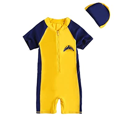 493be8591dd13 Kids Swimwear Swimsuit with Cap - 2 Pieces Boys Beach Diving Suits Girls  Wetsuit Rash Guards Swimming Costume Short Sleeve Shark Yellow