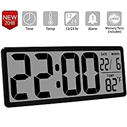 TXL 13.8 Inch Jumbo LCD Digital Alarm Clock with 4.6 inch Digits,Extra Large Electronic Wall Clock Display Date/Indoor Temperature/Fold-Out Stand Desk&Shelf Clock for Seniors Home Kitchen Office,Black